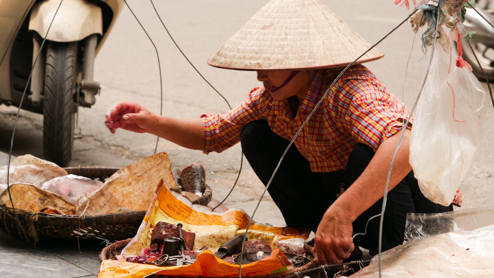 Venta de pescados en la calle, en Hanói